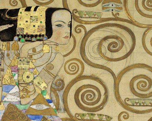 """Werkzeichnung """"Erwartung"""" (Detail) für den Mosaikfries im Speisesaal des Palais Stoclet Wien, Kammerl am Attersee, 1910/11 Kreide, Grafitstift, Gouache, Bronze, Silber, Gold, Platin,Transparentpapier, Entwurfspapier"""