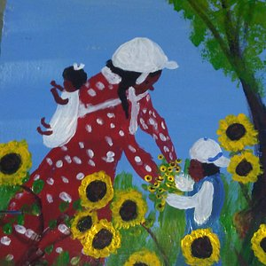 Picking sunflowers