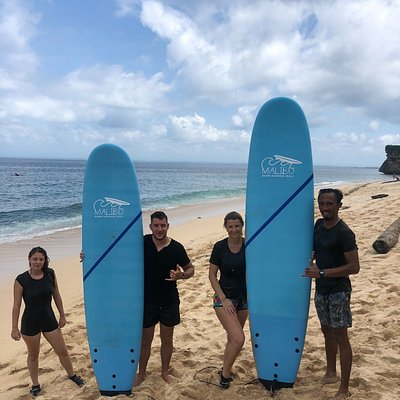 Group beginner surf lesson at Malibu Surf School Bali