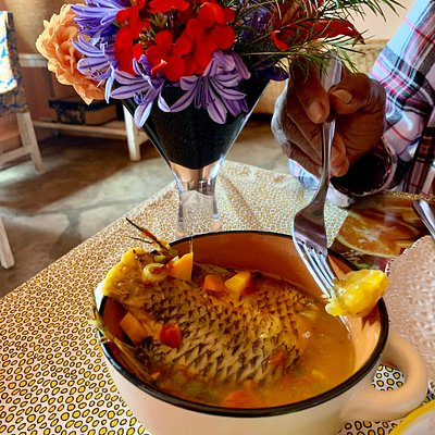 Delicious lunch. Fresh fish stew
