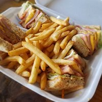 Ham and cheese sandwich with fries