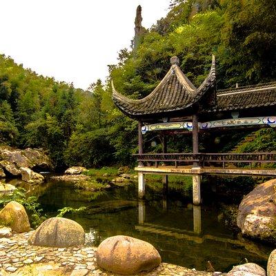 Jin'an District, Liu'an, China.  Shisun village on road leading up mountainside