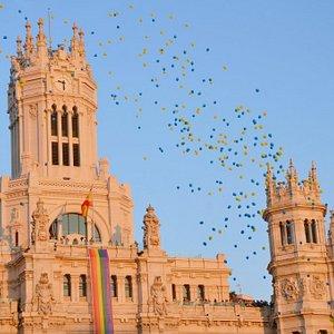El Ayuntamiento de Madrid durante la manifestación y desfile del Orgullo Gay de Madrid