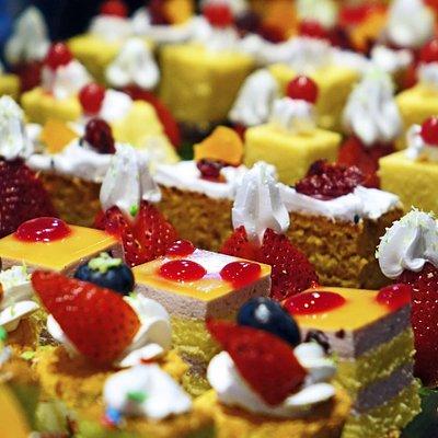 An assortment of delicious pastries in Saint-Germain, Paris.