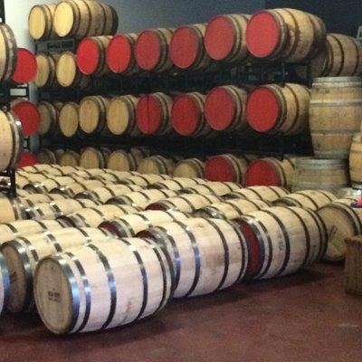 Barrels of spirits at High Wire Distilling