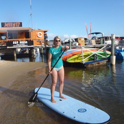Stand up paddling on Noosa river at Sup Noosa