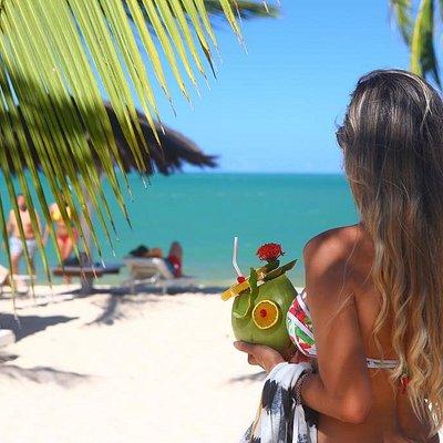Sol, mar, natureza, um coco bem gelado, e uma bela paisagem das praias de Coroa Vermelha! Conheça com a gente.