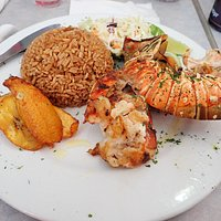 Grilled spiney lobster with rice, plantains and coleslaw. also around 30 dollars.