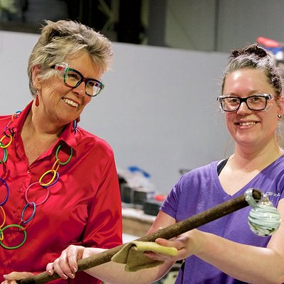 The wonderful Prue Leith visiting the factory and making her own bauble in November 2018.