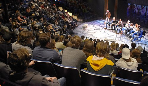 Students attending a FREE Literature Live production and talkback