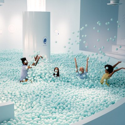 Into the blue - Color Factory's signature ball room!