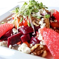 Warm Beet Salad with micro greens from Vertical Harvest (greenhouse located 2 blocks from Brewpub)