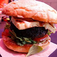 Veg-out burger with halloumi cheese added
