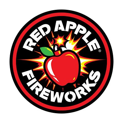 You can't miss our Red Apple Fireworks logo!