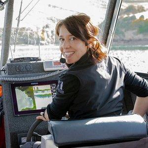 Owner/operator Rachel McGregor at the helm