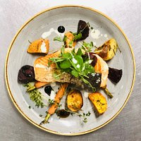 NEW MENU ... Coming Soon!       Grilled Salmon With Roasted baby topped carrots, beetroots and potatoes served with balsamic reductionb basil sauce and lemon parsley & lemon sauce