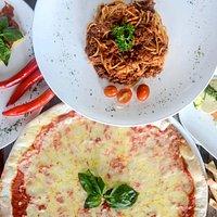 Pizza and Spaghetti Bolognese