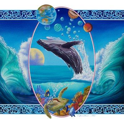 ocean themed acrylic paintings by speedline art.