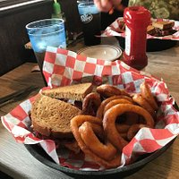 There were a lot of rings on the wife's order - a lot of sweet potato fries across the table.
