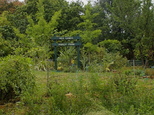 Fruit trees and park sign