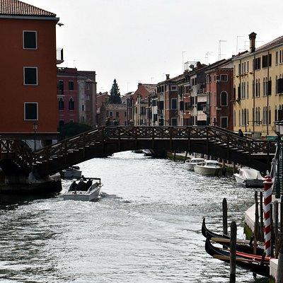 View of Ponte dei Tre Ponti from Ponte Papadopoli