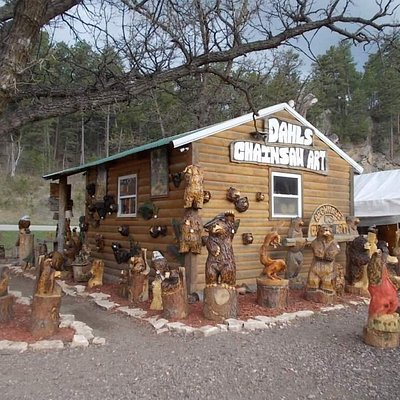 some of the smaller carvings at Dahl's Chainsaw Art in Keystone