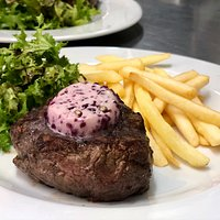 BEEF TENDERLOIN with caramelized onion and red wine butter