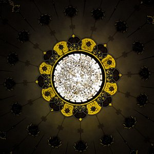 The sparkling chandelier in the Mosque