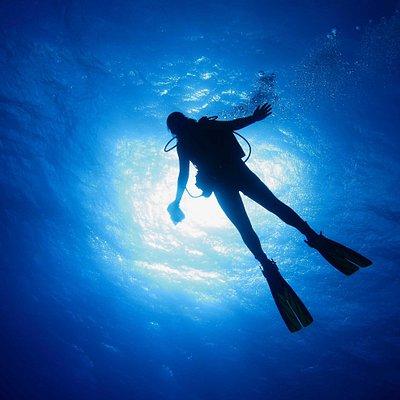 One of our divers descending at Sail Rock, the best dive site around. / Un de nos plongeur en descente à Sail Rock, le meilleur site du coin.