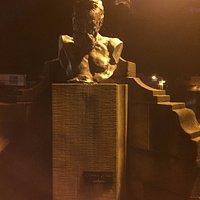Bust adjacent to the bridge opposite the pub Victor Hugo