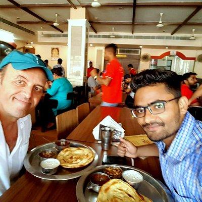Enjoying famous #food of #Amritsar with Yvonnick.