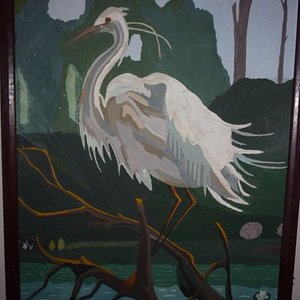 SNOWY Egret, painted in late seventies and given to my mother.  Mother passed away in 1994 and I recently received it from my sister.  Painted with albumin paints on plain cardboard,  I now sell four or five paintings yeach year.  Work in acrylics now.