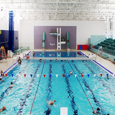 The swimming village also includes a dedicated diving pit