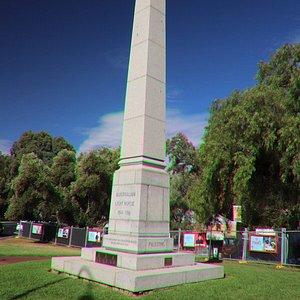 An obelix of the War Horse Memorial