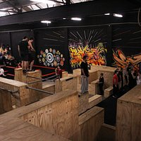 A shot from the top of the wooden part of the training area. The bar set up is off to the left of this image and the sprung floor and foam pit are to the right.