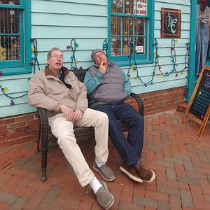 The guys had a place to sit and ponder while the girls shopped.