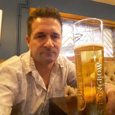 Enjoying a pint in the poachers