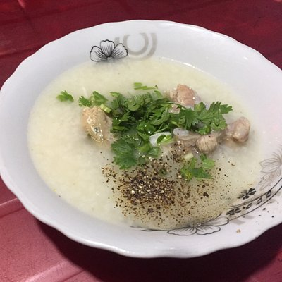 "hot steam rice cake made in  local style .  "" cháo giò - rice soup with pork sausage "", so yummy ."