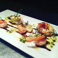 Chef Chiero's Garlic and chili prawns