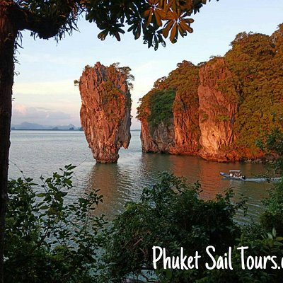 James Bond Island at sunset, on our big boat James Bond Golden Sunset Tour. No other tourists in sight.