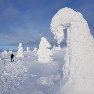 Snow giants on top of fells.