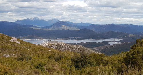 View of Lake Burbury from the Mt Jukes lookout on Mt Jukes Road.