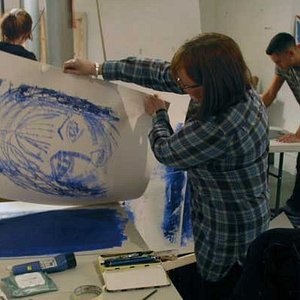 Mono-printing on one of my art and mixed media courses