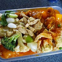 Chicken chow mein plus assorted other food from the buffet