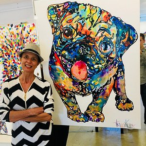 Here's my Pug in Flow style currently on display here in my Noosa Gallery!  TRACEY KELLER 2018 Pugable Acrylic and Resin on Canvas 120cm x 90cm  **This piece is also available as Hand Finished Limited Edition.
