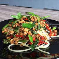 Spicy spaghettistir fried.. so far so good more you know!!! one of fusion food. you will love it.