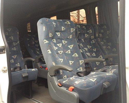 Visão dos assentos executivos, muito confortáveis