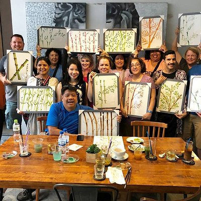 Richland College, Dallas Texas, Fulbright Scholar group at 10AM studio with their creations.