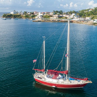 S/V Avalon, at her northside mooring in Isabel II, Isla de Vieques. As photographed by Vieques QuadCopters
