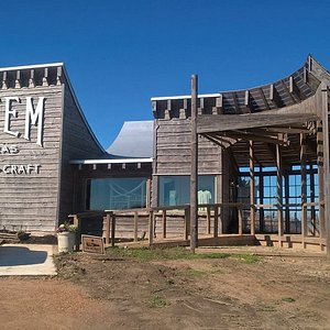 The Bluestem building is truly unique and beautiful.  It is on 90Alt just west of Shiner.